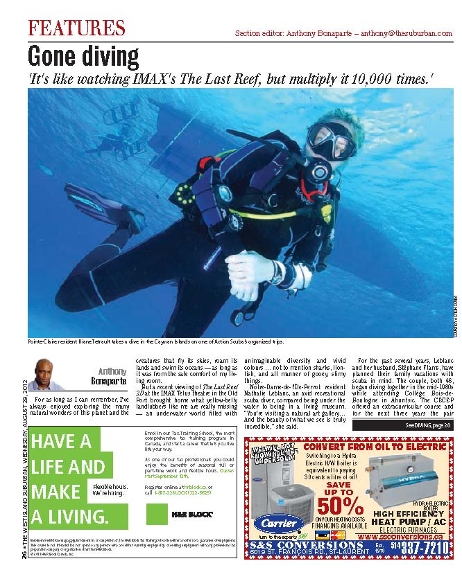 Montreal nwspaper aticle about Scuba Diving, Action Scuba and the West Island diver community